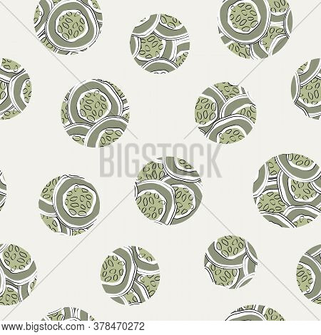 Vector Vegetables Cucumber Circles Scattered On Beige Seamless Repeat Pattern. Background For Textil
