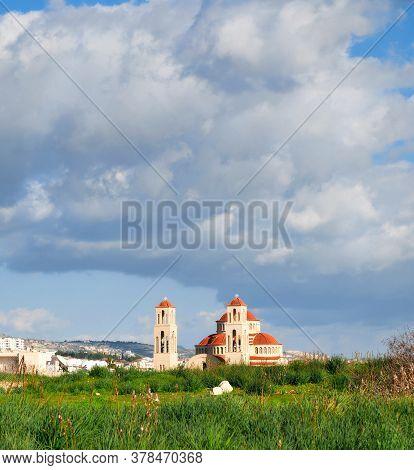 New Church Of Cyprus, Orthodox Church In Kolosi Town, Cyprus Island. Elegant Architectural Landmark.