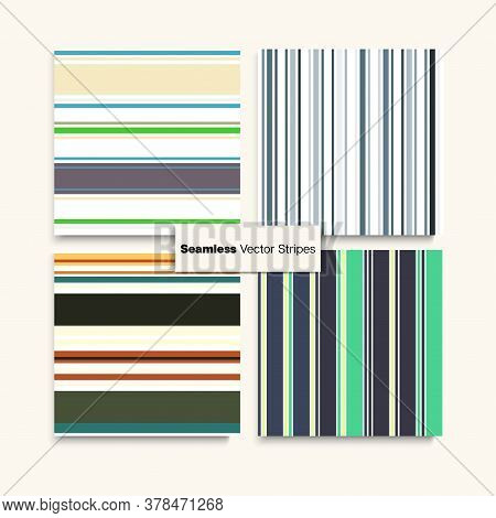 Sailor Stripes Seamless Texture Set. Autumn Winter Vintage Fashion Textile. Trendy Fashion Backgroun