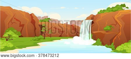 Beautiful Oasis Flat Color Vector Illustration. Natural Waterfall, Park 2d Cartoon Landscape With Gr