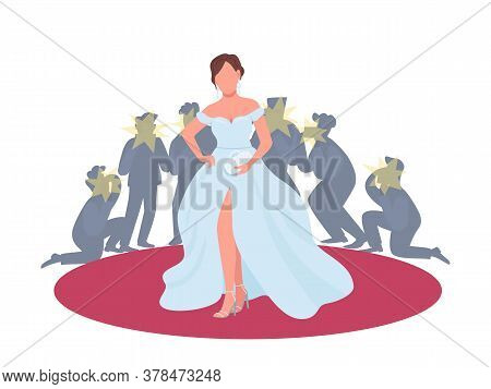 Actress In Fancy Dress On Red Carpet Flat Concept Vector Illustration. Movie Premiere, Festival. Wom