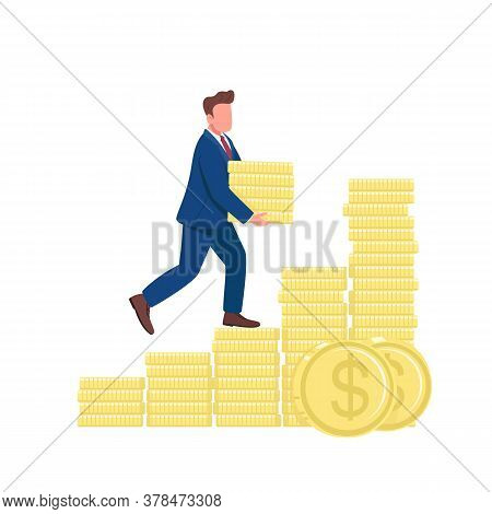 Man Walking Up On Golden Coins Flat Concept Vector Illustration. Successful Businessman Climbing Mon