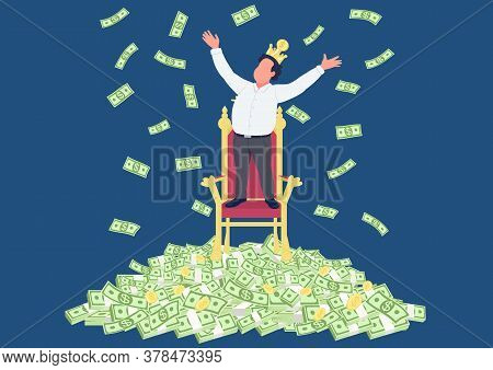 Successful Businessman With Crown On Pile Of Money Flat Concept Vector Illustration. Tycoon. Man Sta