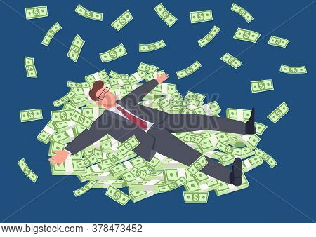 Successful Man Lying On Money Flat Concept Vector Illustration. Businessman In Suit With Stacks Of C