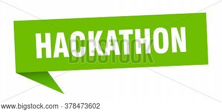 Hackathon Speech Bubble. Hackathon Gree Ribbon Sign