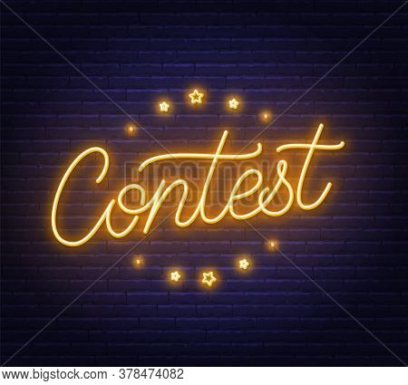 Contest Neon Sign On Brick Wall Background.