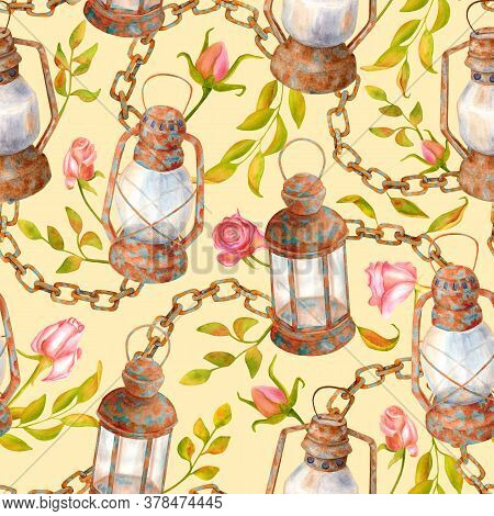 Watercolor Vintage Seamless Pattern With Old Lamps, Chain, Leaves And Roses. Shabby Chic Style Drawi