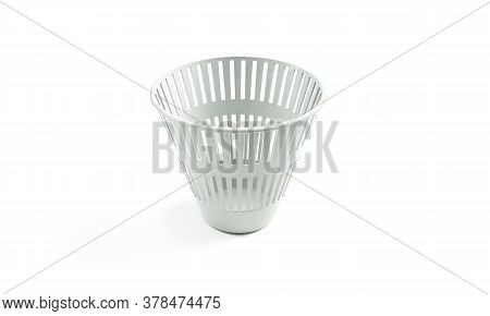 Open Trash Can Isolated On White. 3d Render