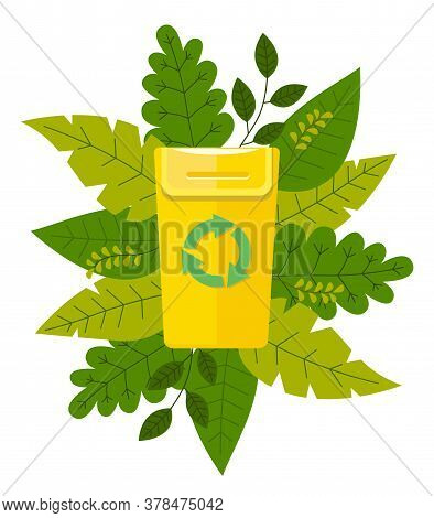 Icon Of Trash Bin With Recycling Emblem At Green Leaves Background. Save Nature. Natural Product, Ec