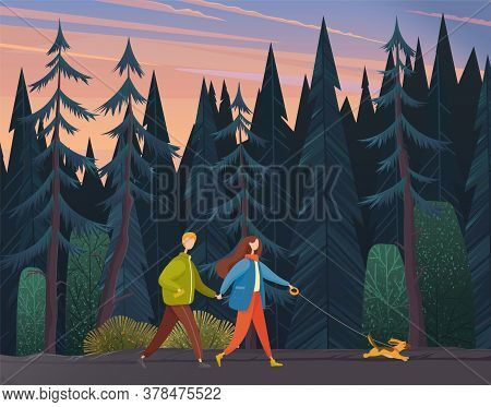 Young Woman And Man Holding Each Others Hand, Walking Together Outdoor With Small Dog Along The Fore