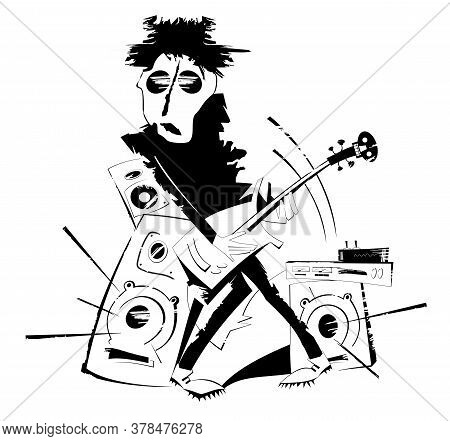 Cartoon Guitar Player Isolated Illustration. Expressive Guitarist Plays Loud Music Using Amplifier A