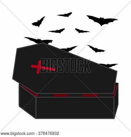 Dracula Coffin With Bats. Halloween Vector Illustration For Print Design
