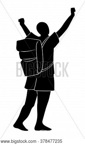 Silhouette Of Tourist With Backpack With Raised Up Hands. Concept Of Traveler Conquer The Peak. Isol