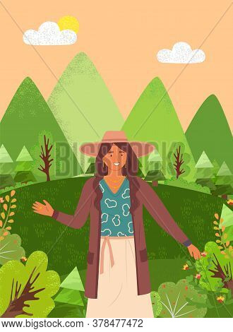 Beautiful Girl In A Brown Hat In Summer Garden. Stylish Portrait Of Young Woman Outdoor Flat Style.