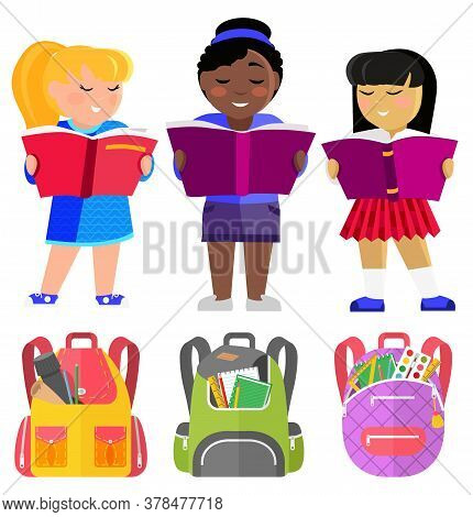 Girls Pupils Afroamerican, European And Asian With Books And Schoolbags, School Students. Reading Cl