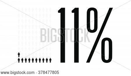 Eleven Percent People Graphic, 11 Percentage Diagram. Vector People Icon Chart Design For Web Ui Des