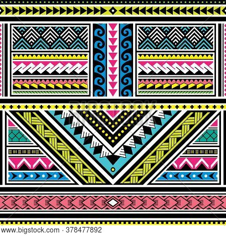 Polynesian Tattoo Seamless Vector Colorful Pattern, Hawaiian Tribal Design Inspired By Art Tradition