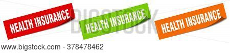 Health Insurance Sticker. Health Insurance Square Isolated Sign. Health Insurance Label