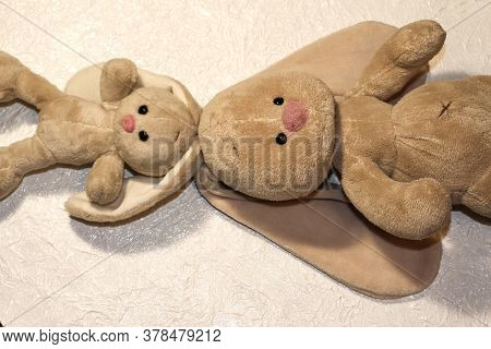 Family Of Bunnies On A White Background. Plush Rabbit Toy.