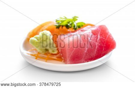 Fresh Sashimi Raw Salmon And Tuna Fish Meat Traditional Delicious Japanese Food Isolated On White Ba