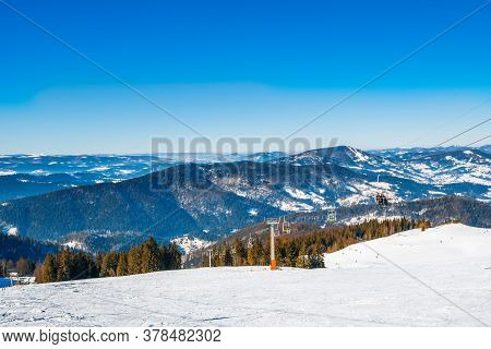 Mesmerizing Funicular Road Located In A Picturesque Place Among Mountains And Snowy Hills And On Fro