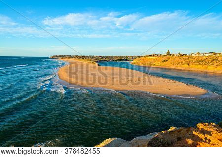 Onkaparinga River Mouth At Port Noarlunga South Viewpoint During Sunset