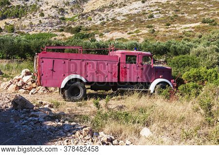 Old Fire Truck In The Mountains On The Island Of Hvar