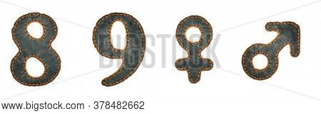 Set of numbers 8, 9 and symbols female, male made of leather. 3D render font with skin texture isolated on white background. 3d rendering