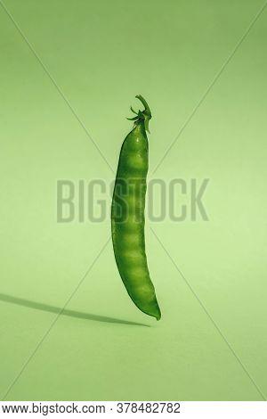 Pod Of Ripe Green Peas On A Green Background In Zero Gravity Green Monochrome And Antigravity Vegan