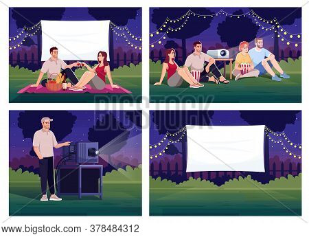 Outdoor Home Cinema Semi Flat Vector Illustration Set. Couple On Romantic Date. Projectionist With D