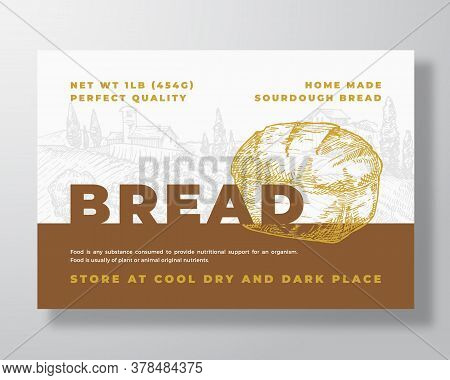 Sourdough Bread Label Template. Abstract Vector Packaging Design Layout. Modern Typography Banner Wi
