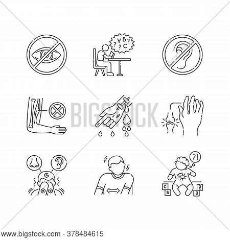 Illness Types Linear Icons Set. Deafness And Blindness. Student With Dyslexia. Muscular Dystrophy. C