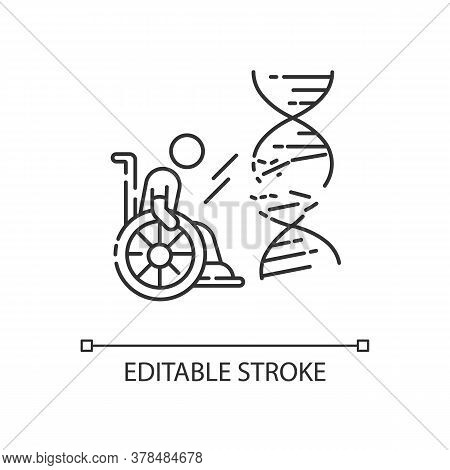 Genetic Conditions Linear Icon. Handicapped Man With Chronic Disease. Paralyzed Person. Thin Line Cu