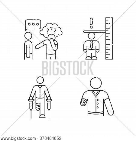 Medical Condition Linear Icons Set. Asperger Syndrome. Difficulty With Social Interaction. Customiza