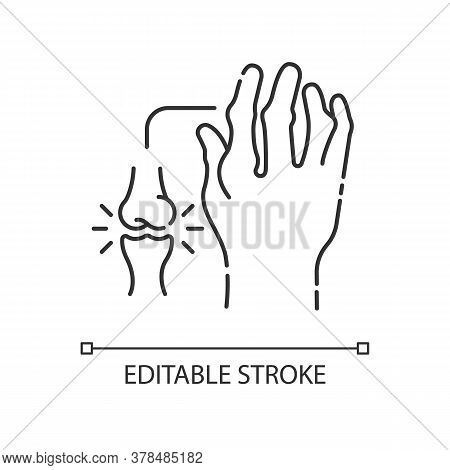 Rheumatoid Arthritis Linear Icon. Pathological Disease. Damaged Bones In Hand. Thin Line Customizabl
