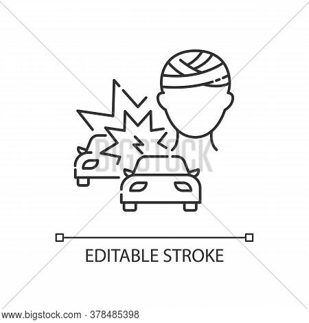 Acquired Brain Injury Linear Icon. Head Injury From Car Accident. Trauma From Auto Collision. Thin L