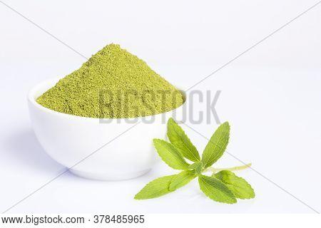 Fresh Green Stevia Herb And Extract Powder - Stevia Rebaudiana. White Background