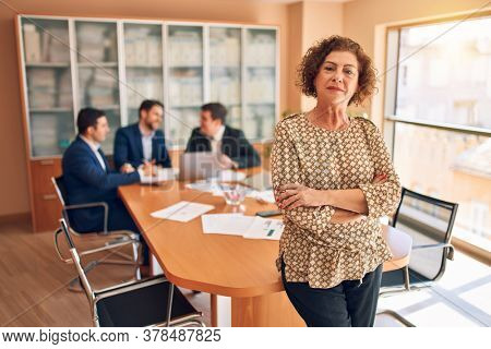 Business lawyers workers meeting at law firm office. Professional executive partners working on finance strategry at the workplace. Leader worker standing confident looking at the camera.