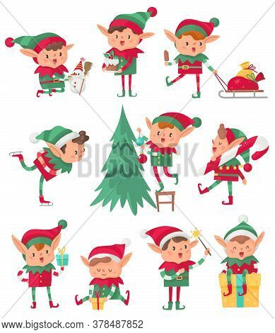 Christmas Elf. Santa Claus Cute Fantasy Helpers, Adorable Elves With Holiday Gifts And Decorations,