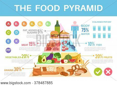 Food Pyramid. Nutritional Value Healthy Eating Triangle Infographics, Different Groups Organic Produ