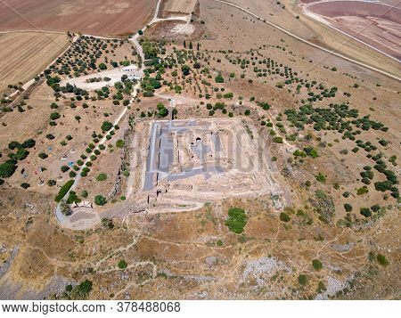 Afula, Israel, July 18, 2020 : Aerial View To The Ruins Of The Great Hospitaller Fortress - Belvoir