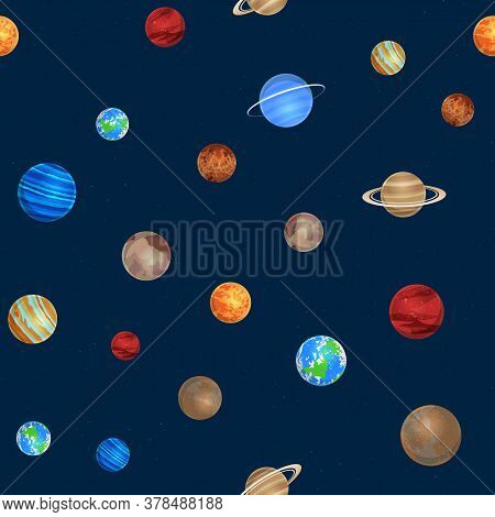 Solar System Seamless Pattern. Different Colorful Planets On Space Background, Sun System Astronomy