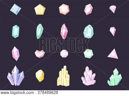 Set Of Colored Crystals. Colorful Jewelry Gems, Precious Luxury Stones, Shiny Crystal Stalagmites An