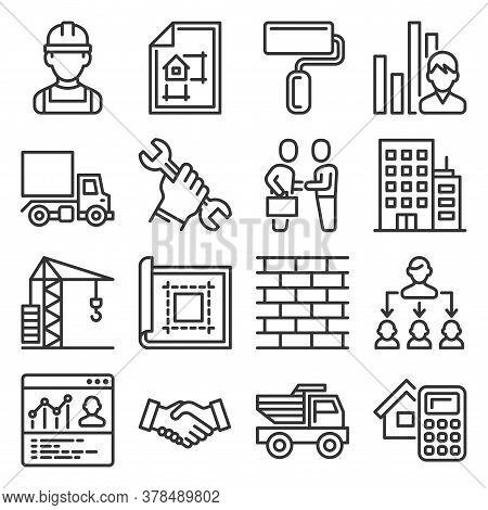 Contractor And Construction Icons Set On White Background. Vector