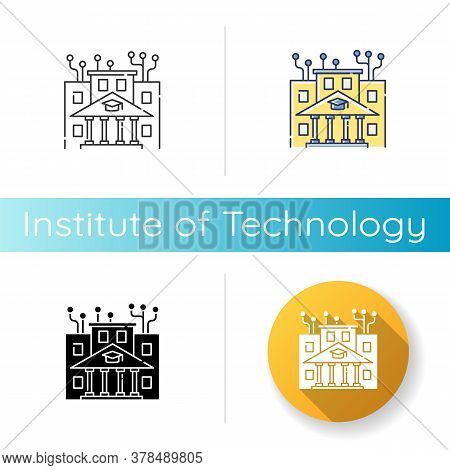 Institute Of Technology Icon. Linear Black And Rgb Color Styles. Professional It College, Higher Edu