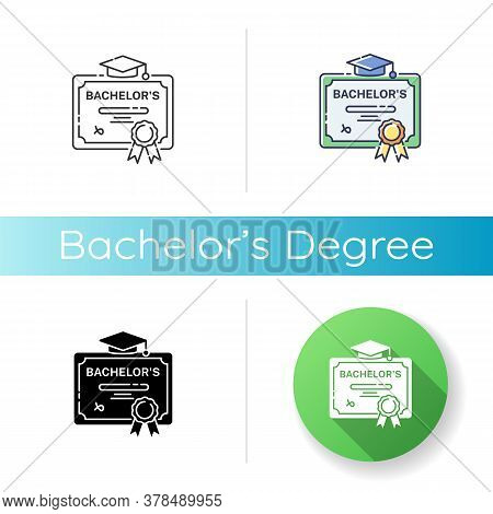 Bachelors Degree Icon. Linear Black And Rgb Color Styles. Successful University Graduation Document.