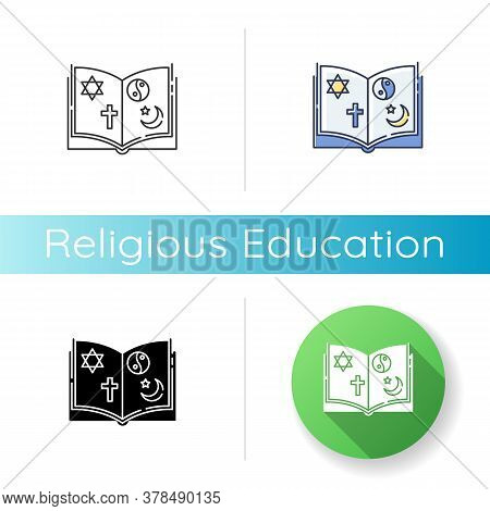 Religious Education Icon. Linear Black And Rgb Color Styles. Book With Judaism, Christianity, Taoism