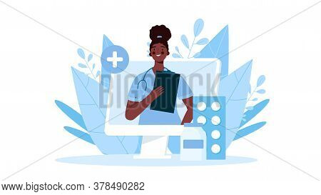 Online Medical Consultation, Support. Online Doctor. Healthcare Services. Family Female Doctor With