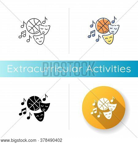 Extracurricular Activities Icon. Linear Black And Rgb Color Styles. Different Academic Clubs, Highsc