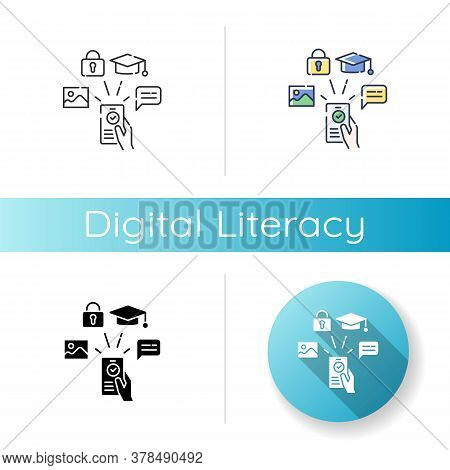 Digital Literacy Icon. Linear Black And Rgb Color Styles. Modern Education, E Learning. Using Smartp